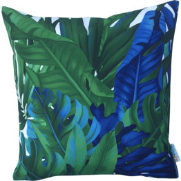 blue and green tropical leaf designer cushion cover