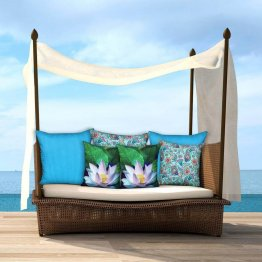 Lotus Cushion Covers With Beautiful Beach Scene