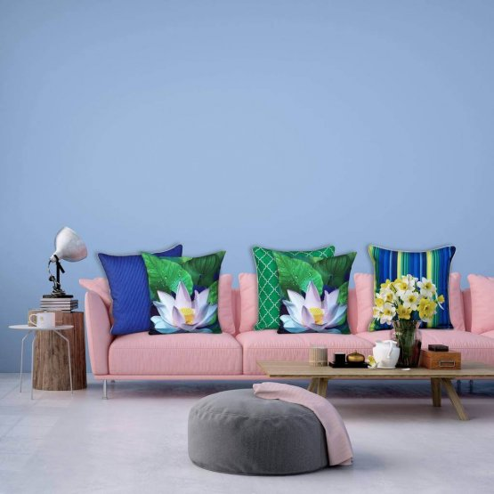Lotus Cushion Covers Nested On Pink Couch