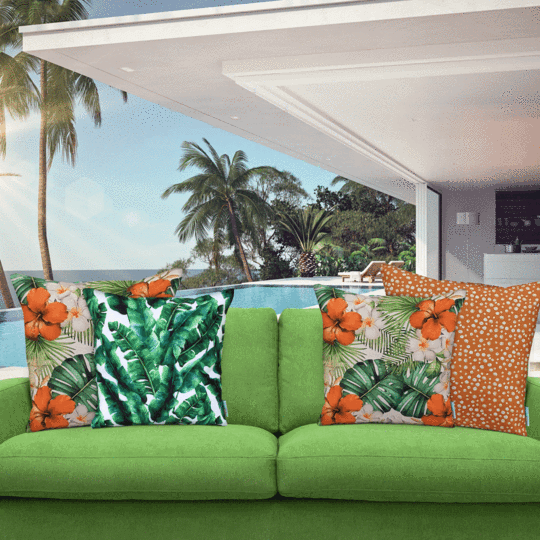 orange spot designer outdoor cushion