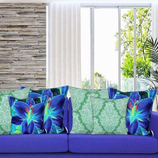 designer green and blue cushions