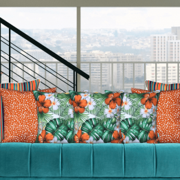 hibiscus tropical and orange spot designer cushions
