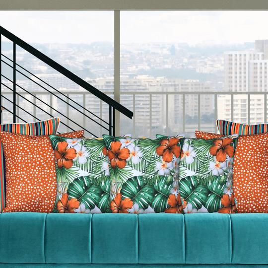 hibiscus tropical and orange spot designer cushions