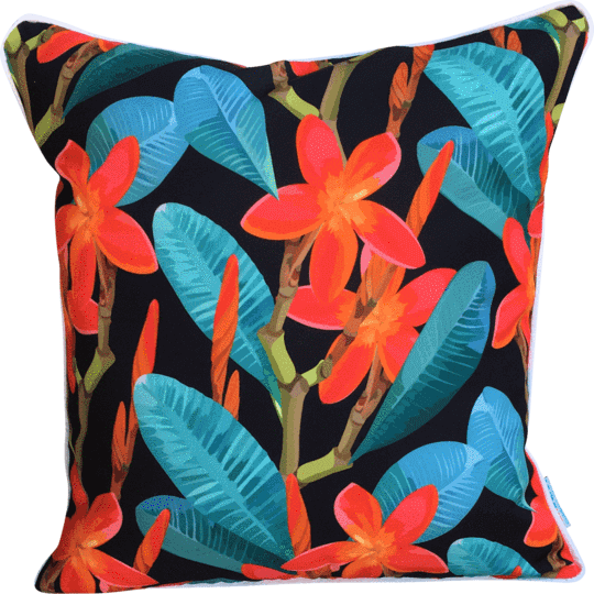 red tropical flowers on black background designer outdoor cushion