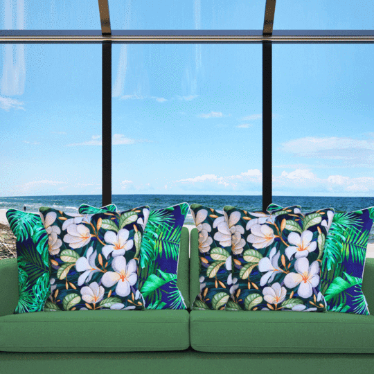 frangipani designer outdoor cushion cover tropical mix