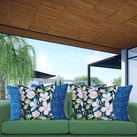frangipani designer outdoor cushion cover blue mix