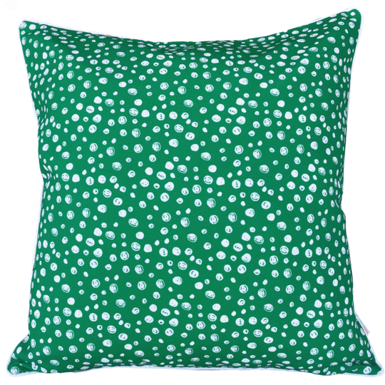 green and white spotted designer outdoor cushion