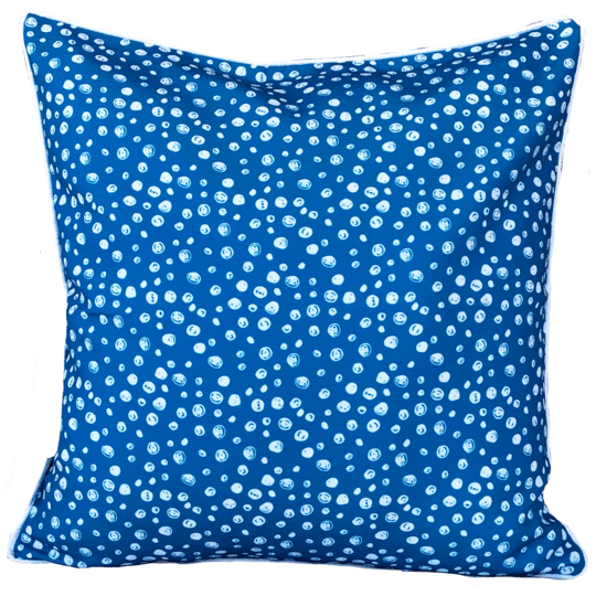 tasteful blue and white spotted outdoor designer cushion