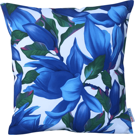 blue and white designer outdoor cushion