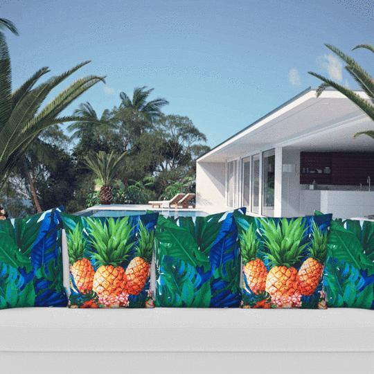 blue and green tropical leaf designer cushion cover mix tropical flowers
