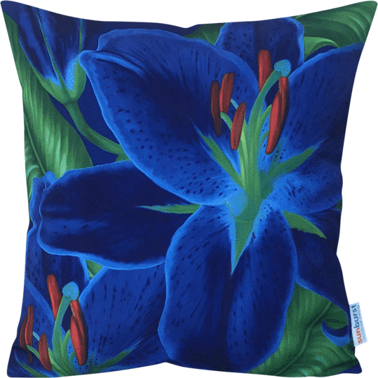 blue lily designer outdoor cushion cover