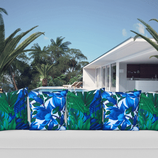 blue and white designer outdoor cushion mix
