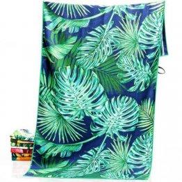 sand free beach towel tropical leaf design