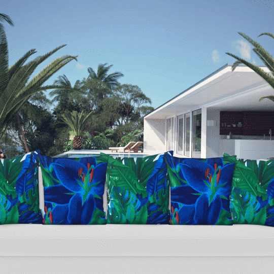 blue lily designer outdoor cushion cover mix