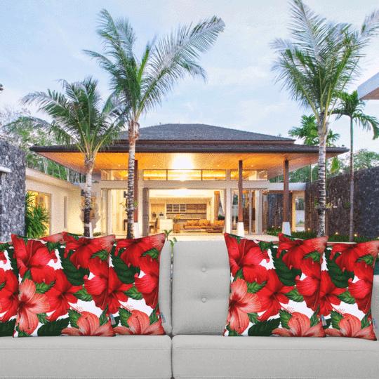 hibiscus designer cushion cover