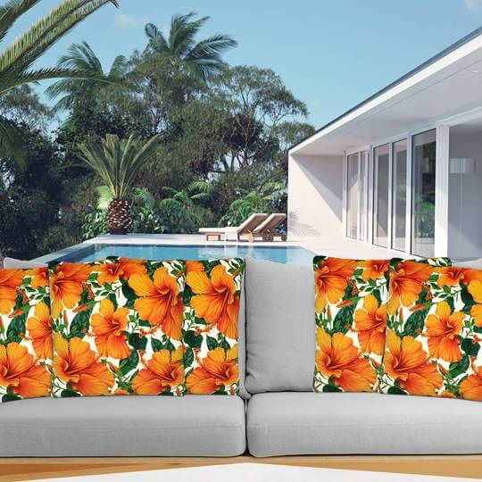orange hibiscus outdoor cushion cover