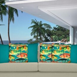 Appealing outdoor fish cushion cover mix