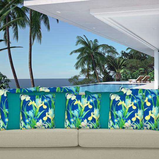 Energy teal outdoor cushion cover mix 2