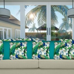 Energy teal outdoor cushion cover mix
