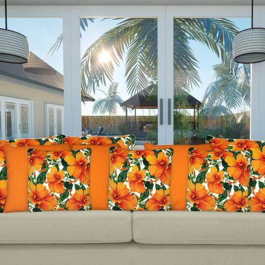 Equity orange outdoor cushion cover mix 2